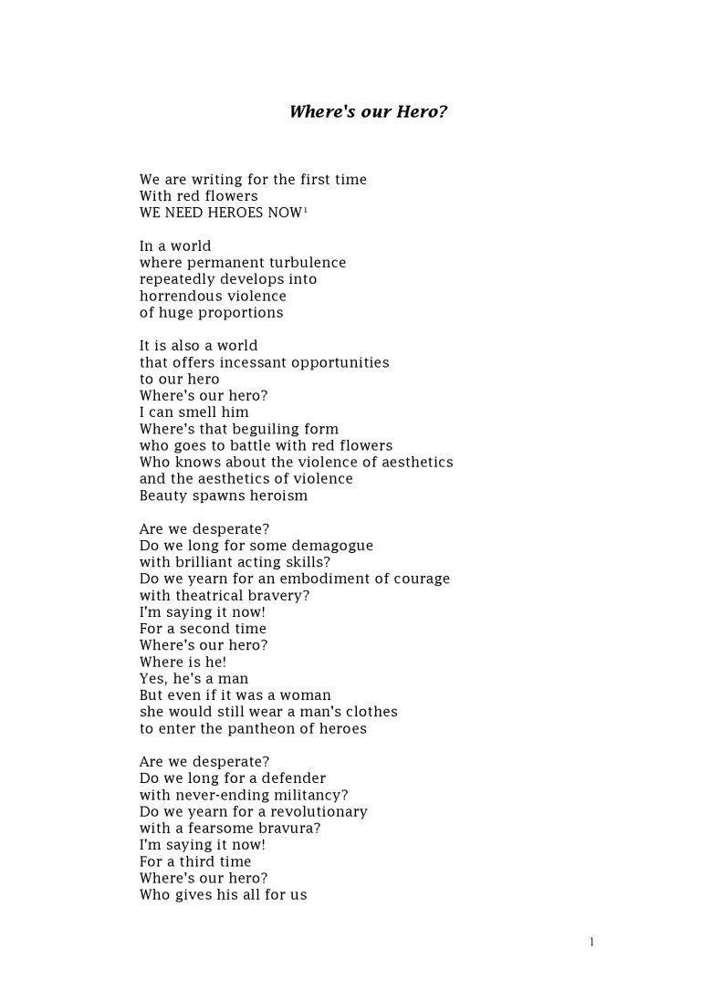 Where's Our Hero   Short Poem